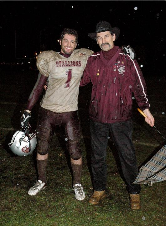 My son Jordan and I after the 2008 playoff game against the Laval Devils