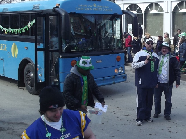 Patrick Gregory and Islanders football team at the 2012 Hudson St-Patrick Day parade